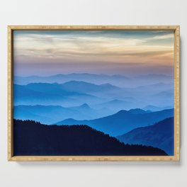 Beautiful Blue Sky Mountains Serving Tray