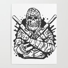 Military skull with guns Poster