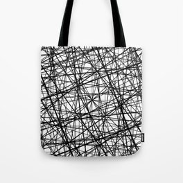 Geometric Collision - Abstract black and white Tote Bag