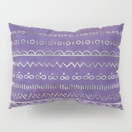 Tribal Ethnic pattern silver on  purple Pillow Sham