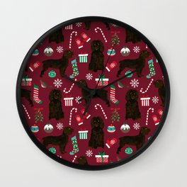 Boykin Spaniel christmas pattern dog breed presents stockings candy canes Wall Clock