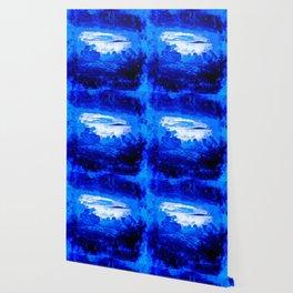 cloudy sky blue turquoise splatter watercolor Wallpaper