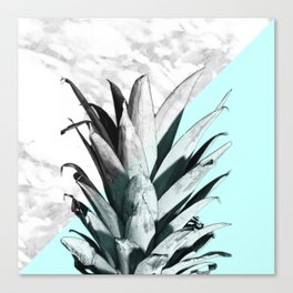 Pineapple Top Marble Pastel Blue Canvas Print