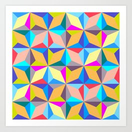 Abstract Colorful Polychromatic Geometry Art Print