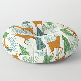 Deers in the forest Floor Pillow