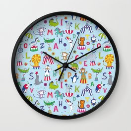 Circus Animal Alphabet - multi on pale blue Wall Clock