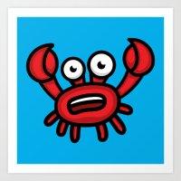 luigi Art Prints featuring Crab Luigi by leondesigns