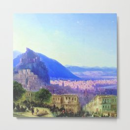 View of Tiflis by by Ivan Aivazovsky Landscape Painting Metal Print