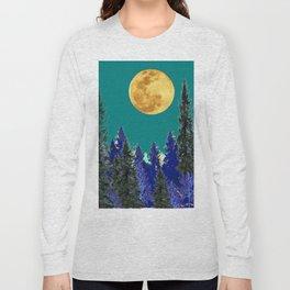 BLUE FOREST TEAL SKY MOON LANDSCAPE ART Long Sleeve T-shirt