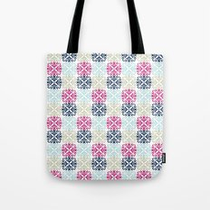Floral Geometric - Navy & Pink Tote Bag