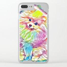 Pomeranian spitz Dog on Isolated Black Background in studio        - Image Clear iPhone Case