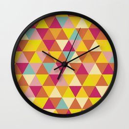 Orange yellow pink geometrical abstract triangles Wall Clock