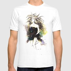 Watercolor Girl White MEDIUM Mens Fitted Tee