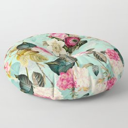Vintage & Shabby Chic - Summer Teal Roses Flower Garden Floor Pillow
