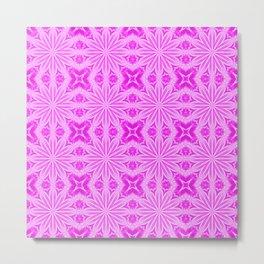 Fuchsia Pink Floral Pattern Metal Print