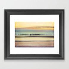 an evening at the beach Framed Art Print