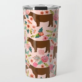 Red Angus cattle breed floral farm homestead gifts cow pattern Travel Mug