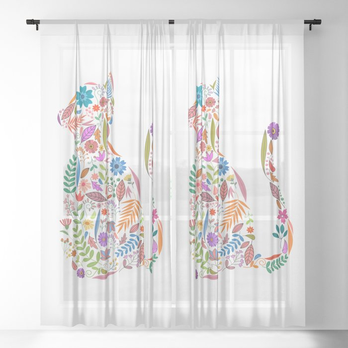 Fancy And Fine Flowered Cat Garden Design Sheer Curtain By Sunnybunny