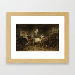 Interieur van een stal met paarden en figuren, Wouter Verschuur (1812-1874), 1850 - 1874 Framed Art Print
