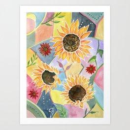 Sunflowers Art Deco Art Print