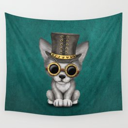 Steampunk Baby Wolf Cub on Blue Wall Tapestry
