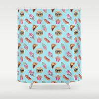 junk food Shower Curtains featuring junk food by Kenzie Tsang