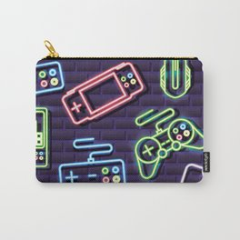 Neon Video Game Accessories Pattern Carry-All Pouch