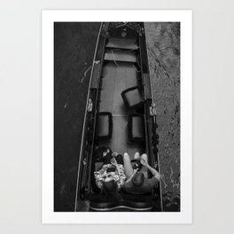 Black and white, street, photography, cafe, design, wall art, Venice Art Print