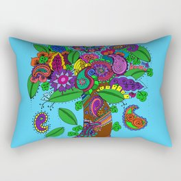 Psychedelic Paisley Tree - on Turquoise Background Rectangular Pillow
