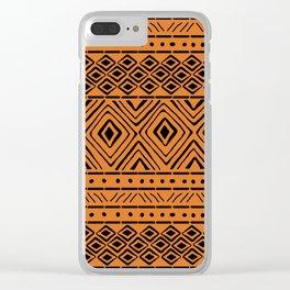 African Mud Cloth // Orange Clear iPhone Case