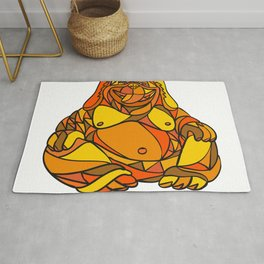 Laughing Buddha Dog Mosaic Color Rug