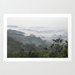 Borobudur view - foggy sunrise Art Print