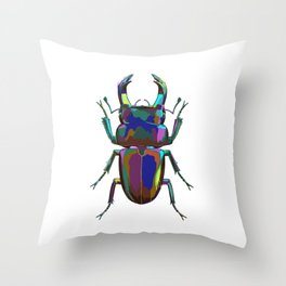 Colored Stag Beetle Throw Pillow