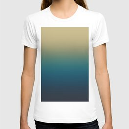 Peacock Blue and Khaki Gradient. Ombre Effect. T-shirt
