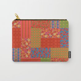 Poppy Fields Faux Patchwork Carry-All Pouch