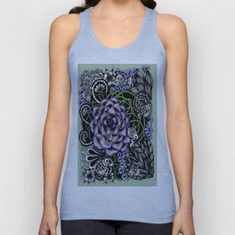 Fishes on a Coral Reef Greens - Zentangle Illustration Unisex Tank Top