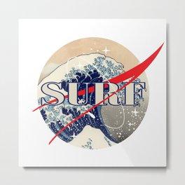 Surf The Great Wave Off Kanagawa - Nasa Logo Inspiration Metal Print