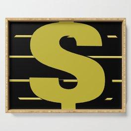 Cash $ Dollar // Black Gold Stripes Background 2 Serving Tray