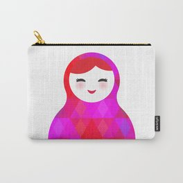 Russian doll matryoshka screw up one's eyes with bright rhombus on white background, pink colors Carry-All Pouch