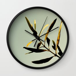 Modern Minimal Nature Photography Green Leaf plant Against A Pastel Green Turquoise Background Wall Clock