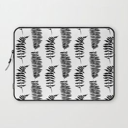 Hand painted watercolor black white fern floral leaves Laptop Sleeve