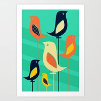 mid century Art Prints featuring Mid Century Birds by Sam Osborne