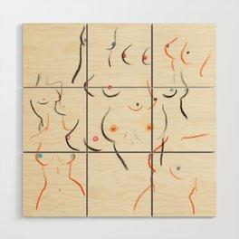 Breasts in Cream Wood Wall Art