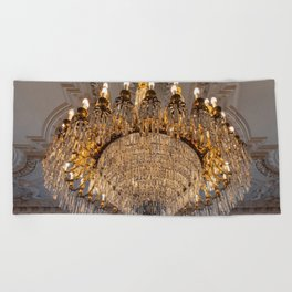 Reproduction of antique chandelier with crystals Beach Towel