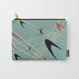 Blue Mid Century Modern Pattern Carry-All Pouch
