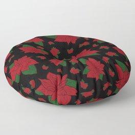 Poinsettia Black Floor Pillow