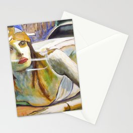 Girl in the Window portrait painting cityscape by Scott Richard Stationery Cards