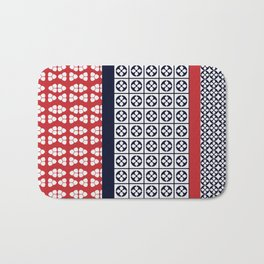 Japanese Style Ethnic Quilt Blue and Red Bath Mat