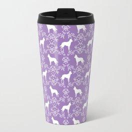 Australian Kelpie dog pattern silhouette purple florals minimal dog breed art gifts Travel Mug