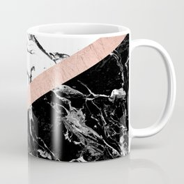 Modern black white marble color block rose gold Coffee Mug